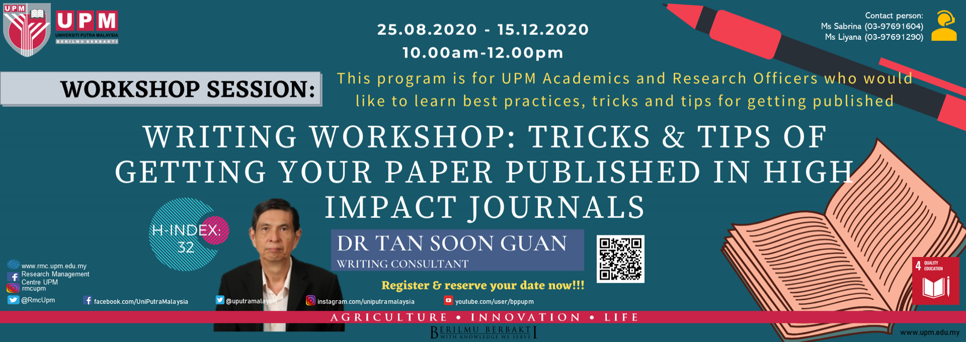 Writing Workshop: Tricks & tips of getting your paper published in high impact journals
